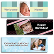 Repositionable Banner - Personalize this large 2' x 6' Repositionable Banner for a surprise party, graduation party, or a sporting event -- just to name a few. No need for mounting hardware or tape, the banner is peel & stick! You can pull them down and reposition over and over again. No sticky residue.
