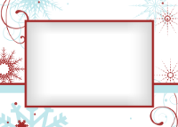 5x7 - Red and Blue Snowflakes - 5x7 - Red and Blue Snowflakes