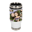 14 oz. Tiled Stainless Steel Tumbler - Take your coffee and your pictures on the road! Add your favorite picture to this 14 oz. Tiled Stainless Steel Tumbler. The picture will be displayed in a tiled design all around the mug. Comes with a finger slide spill-proof top to make this the perfect travel companion for any trip. Measures 7 x 2.5 x 3.5. Tumblers are not microwave safe and hand washing is recommended.