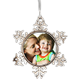 Metal Snowflake Ornament - Adorn your tree with this beautiful Metal Snowflake Ornament. Personalize it with one of your favorite pictures to create the perfect Christmas decoration or holiday gift for family and friends. The ornament measures 3'' from point-to-point and has an image size of 1.63'' in diameter.
