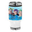 14 oz. Stainless Steel Tumbler - Take your coffee and your pictures on the road! Add your favorite picture to this 14 oz. Collage Stainless Steel Tumbler. Comes with a finger slide spill-proof top to make this the perfect travel companion for any trip. Measures 7 x 2.5 x 3.5. Tumblers are not microwave safe and hand washing is recommended.